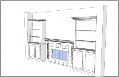 Fireplace Plan, Right Perspective View