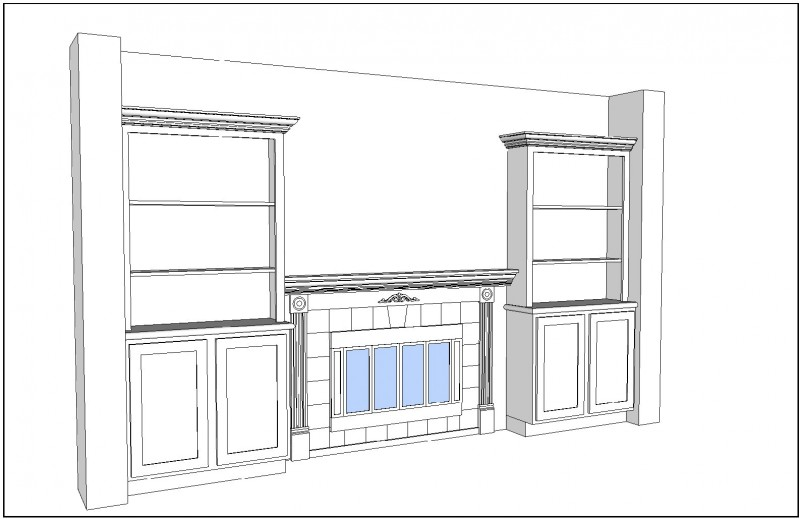Fireplace Plan, Left Perspective View